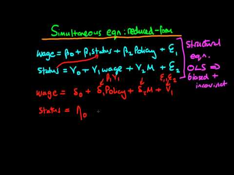 Simultaneous equation models - reduced form and structural equations