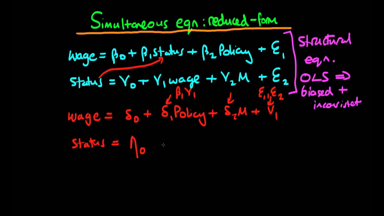 Simultaneous equation models - reduced form and structural ...