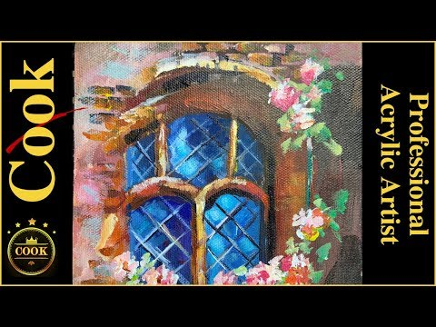 Rose Covered Abby Window in Acrylics with Ginger Cook