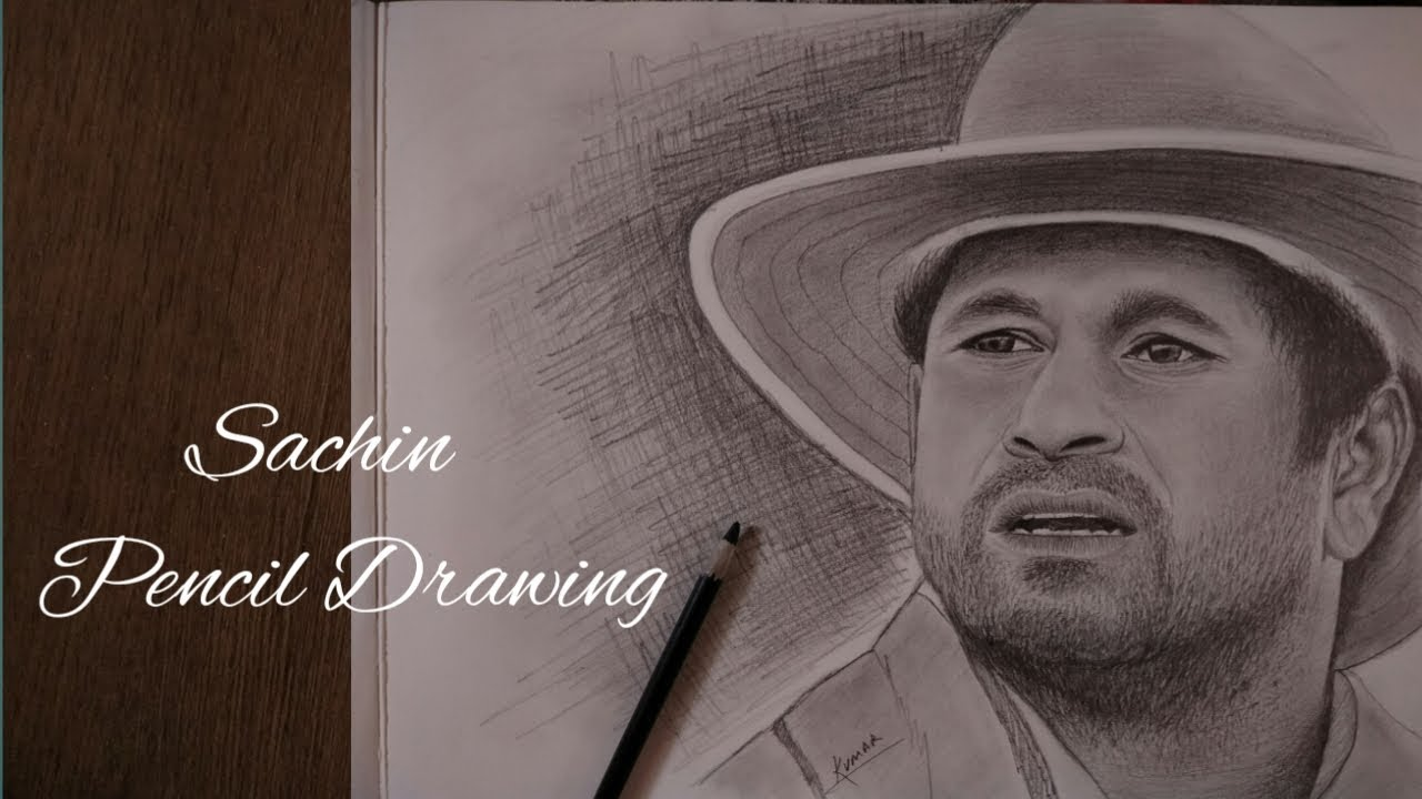 Sachin tendulkar pencil art drawing