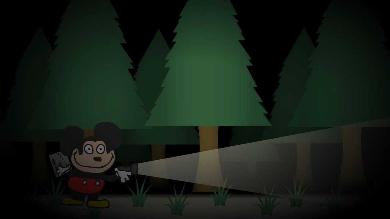 Slunder - Let's find the house! - A cartoon of a crudely animated Mickey Mouse being chased through the woods at night by a Slenderman like monster.