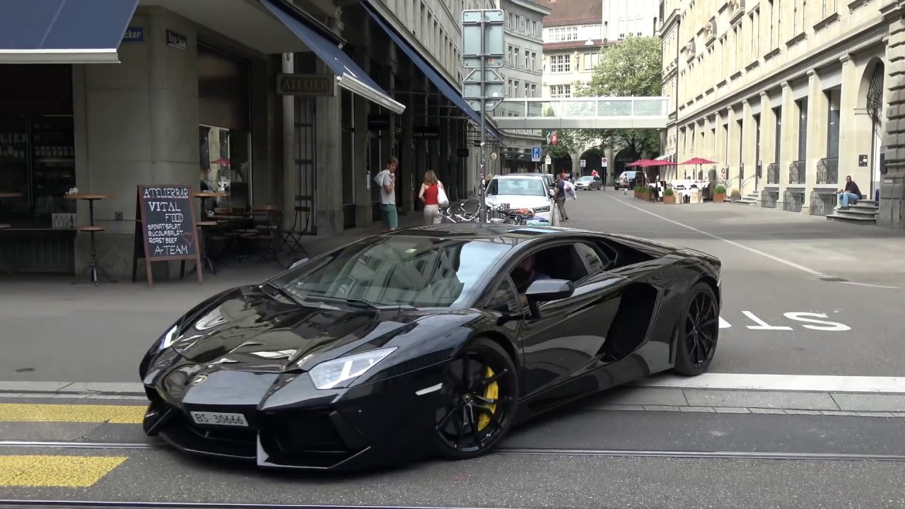 Loud Lamborghini Aventador LP700-4 w/ Capristo exhaust in Zurich. (Brutal sound!)