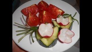 Малосольные( маринованные) помидоры быстрого приготовления .Украшения блюд- цветы из редиса.