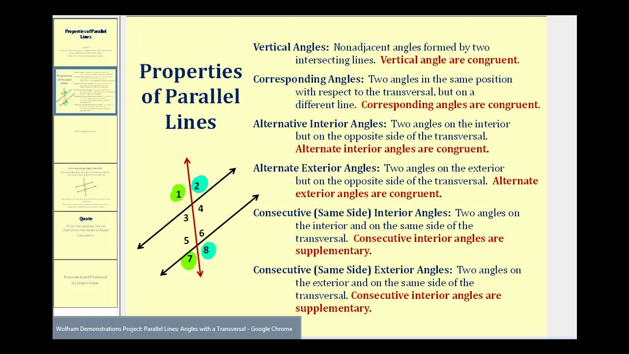 Properties of Parallel Lines - YouTube