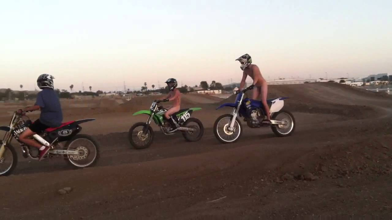 Naked dirt bike rider