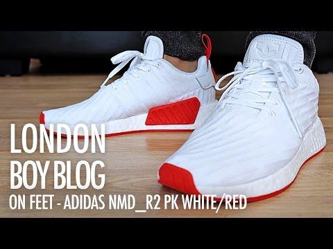 On Feet Adidas Nmd R2 Pk White Red Youtube