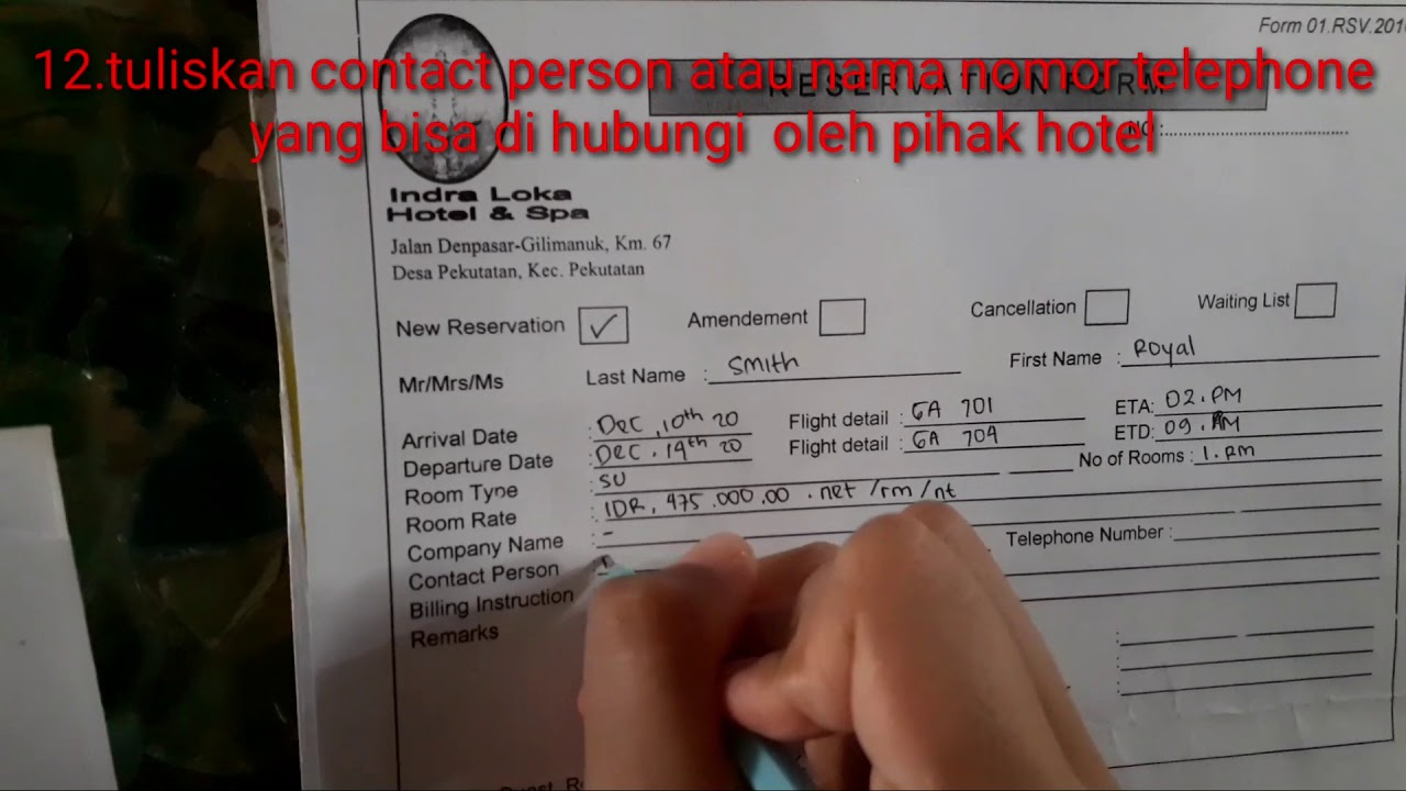Cara Pengisian Reservation Form Youtube