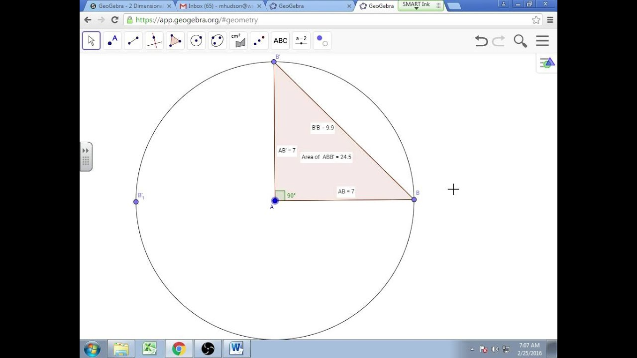 Hudson's GeoGebra Tutorial 1 - Segments, Polygons, Circles, Length, Area, etc.