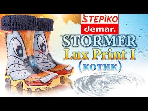 DEMAR Stormer Lux Print I Котик. Видео обзор на детские  резиновые сапоги Демар 0032I от Stepiko.com