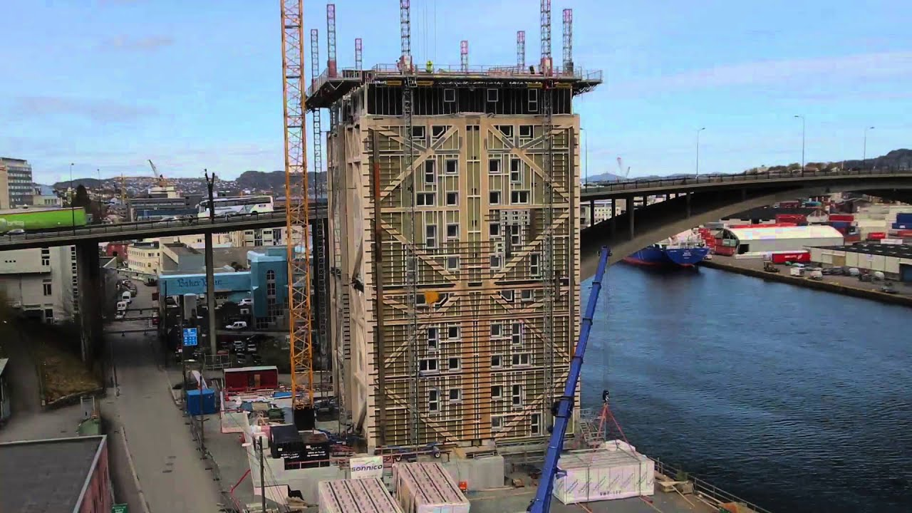 Time Lapse The Worlds Tallest Timber Building 14 Storeys In Bergen HD