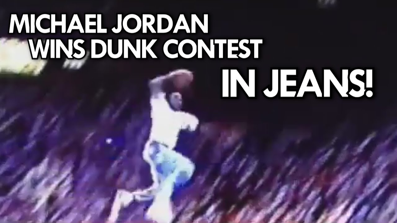 RARE MICHAEL JORDAN DUNKS in JEANS from the FREE THROW LINE!! 1988 UNSEEN DUNK CONTEST!