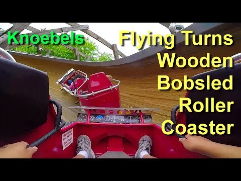 Flying Turns Wooden Bobsled Roller Coaster On Ride POV GoPro