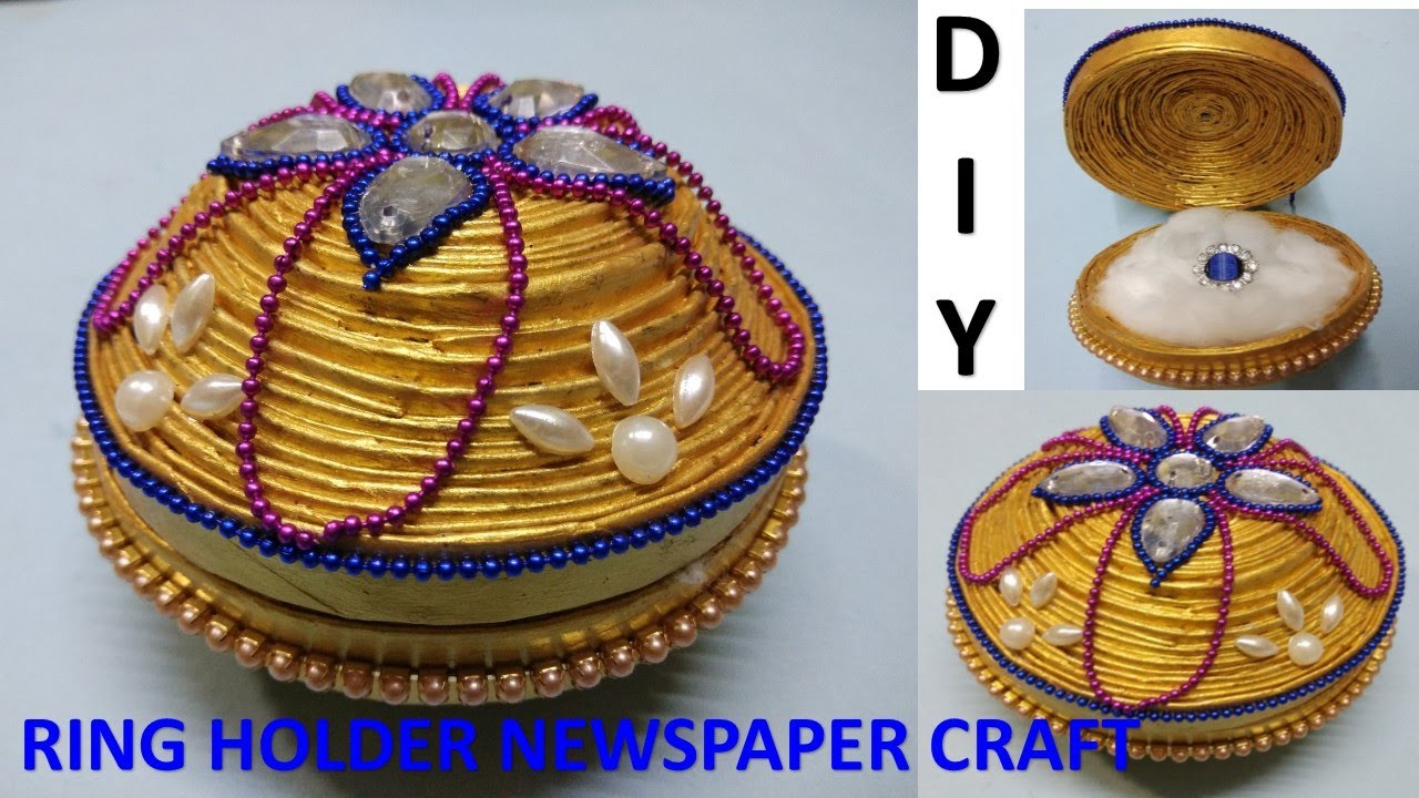 How to make waste material craft ring box news paper for Craft work from waste items