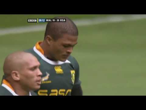 Juan de Jongh's try versus Wales June 5th 2010