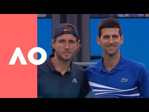Novak Djokovic v Lucas Pouille on-court warm up (SF) | Australian Open 2019