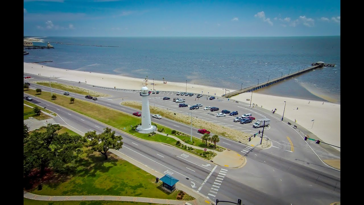 Aerial View Of Lighthouse Biloxi Ms Youtube
