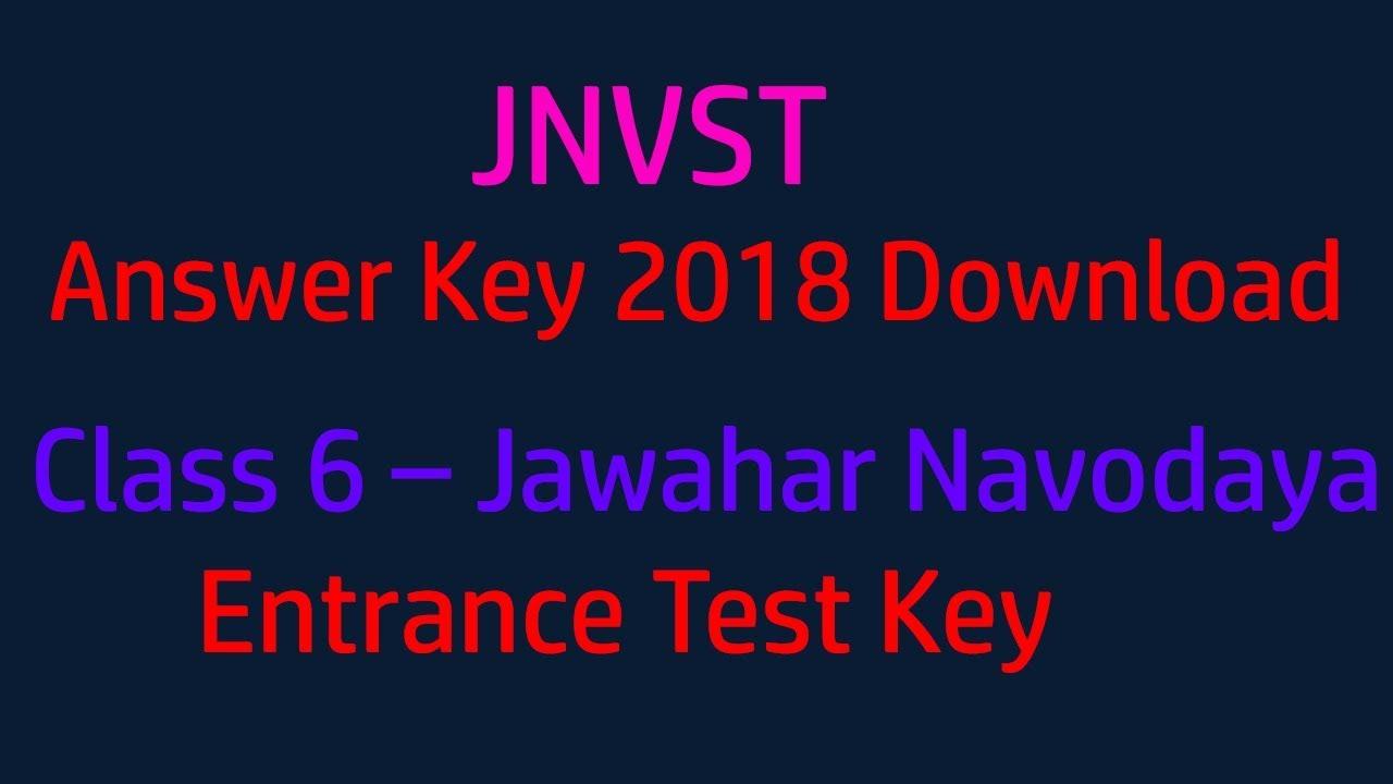 jnvst answer key 2018 download class 6 jawahar navodaya entrance