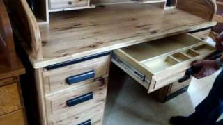 Hickory Roll Top Desk Handcrafted By The Amish & Made In America