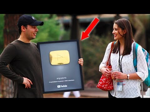 Picking Up Girls with my GOLD PLAY BUTTON!!