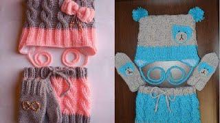 Вязание крючком. Детский комплект. Шапка (узор косы)