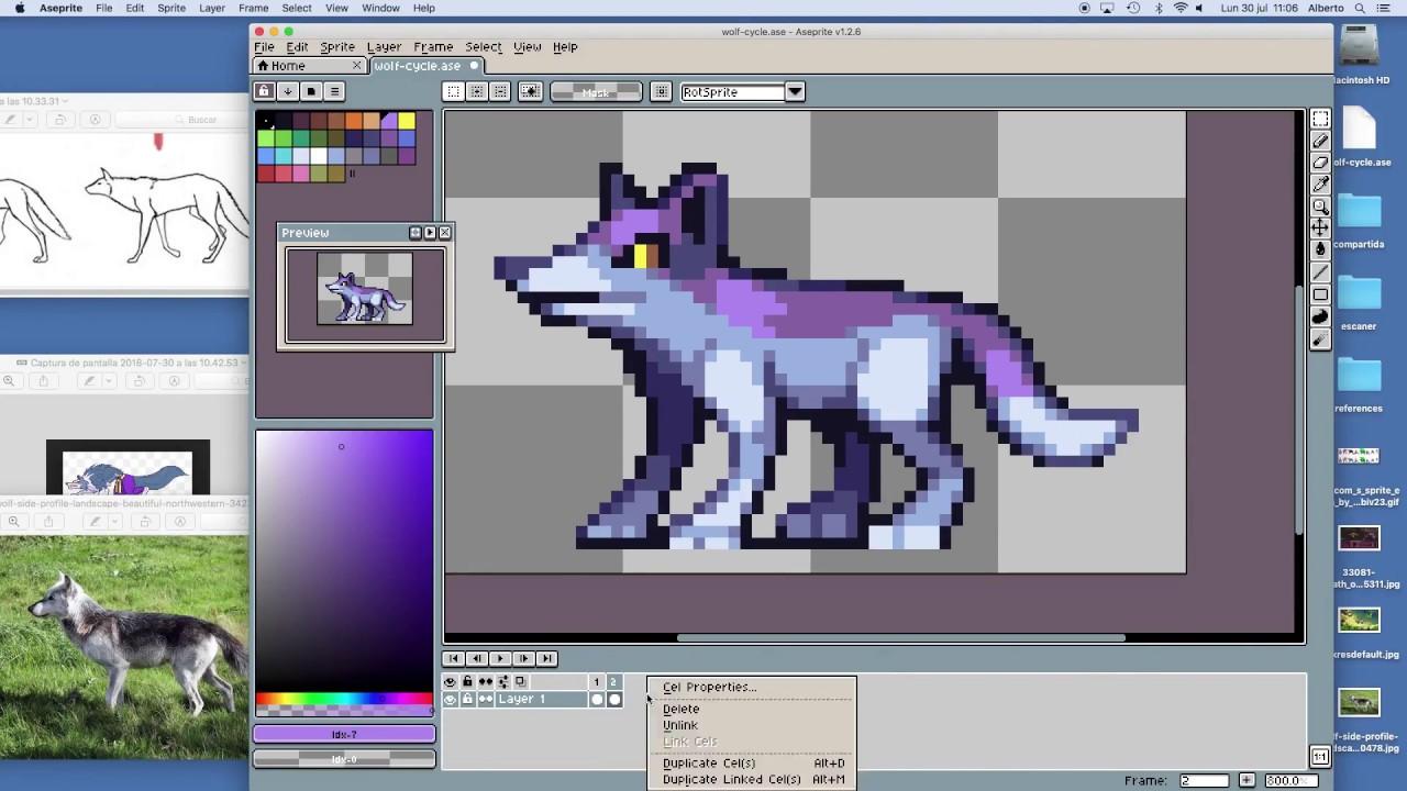 106863d84f PIXEL ART TIMELAPSE - Wolf walk cycle - YouTube
