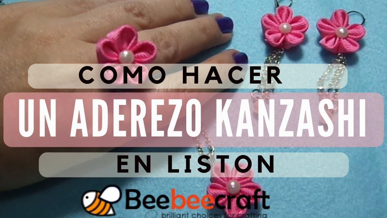 Flores Kanzashi para aretes y anillo 🌺Tutorial 27💍