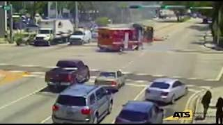 AMBULANCE CRASHES INTO FIRE ENGINE