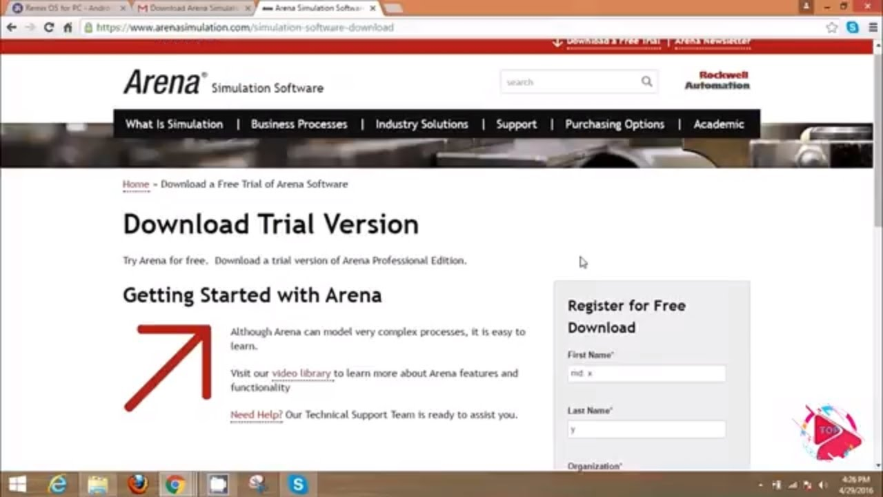 Arena Simulation Software download and free example