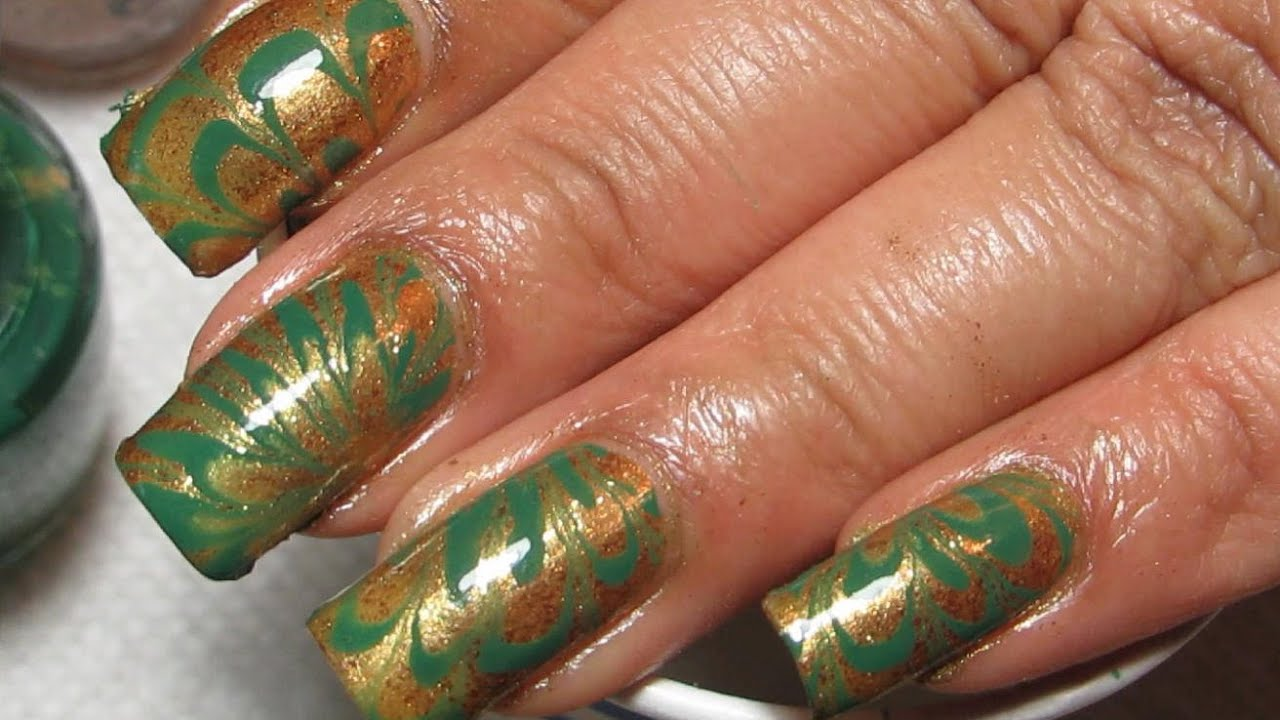 Green Gold St Patrick39s Day Water Marble Nail Art