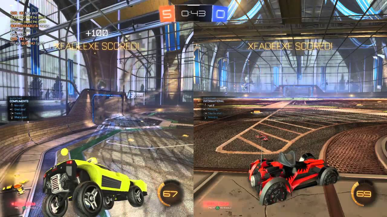 is rocket league 4 player split screen