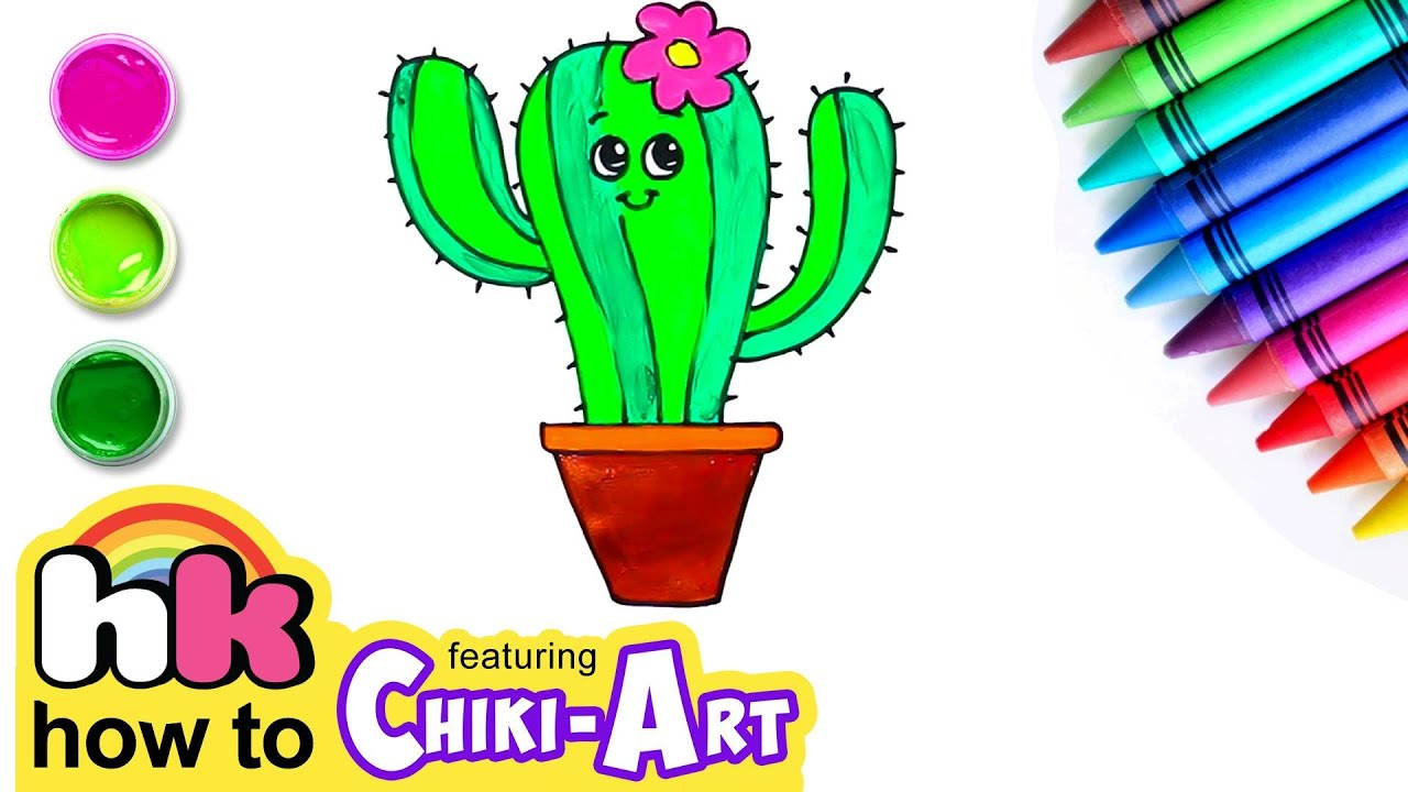 Learn How to Draw & Color Cactus | Preschool Learning Videos for Kids | HooplaKidz How to