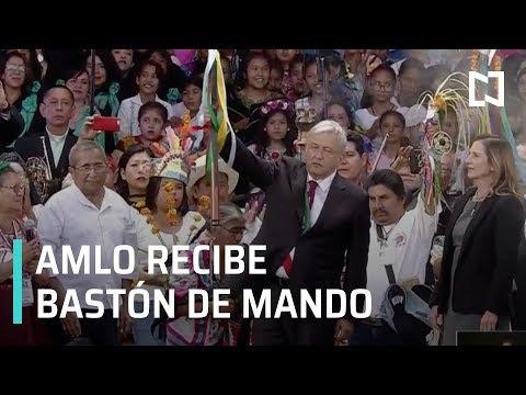 AMLO recibe Bastón de Mando en el Zócalo, por parte de Pueblos Indígenas - Transición 2018