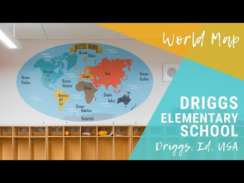 World Map Classroom Mural | Driggs Elementary School, Idaho