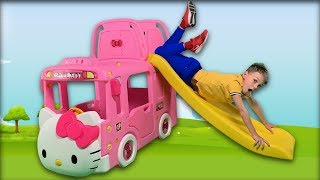 Vania and Pink Car | Wheels on the bus song