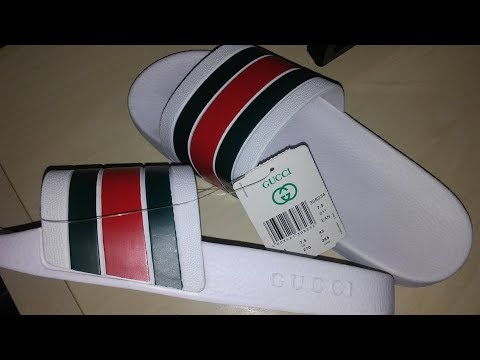 67be109e431a Gucci White 72 Pursuit men Slide Sandal Fake - YouTube
