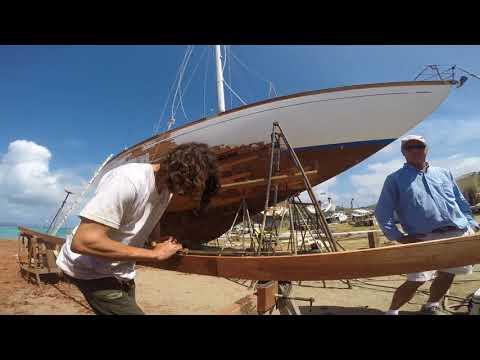 56' Bill Tripp Yawl `Apollonia` - Hurricane Irma Repair in 3 minutes!