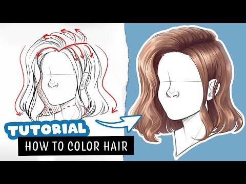 🎓 How to color SEMI-REALISTIC hair ✒️ Digital Art Tutorial