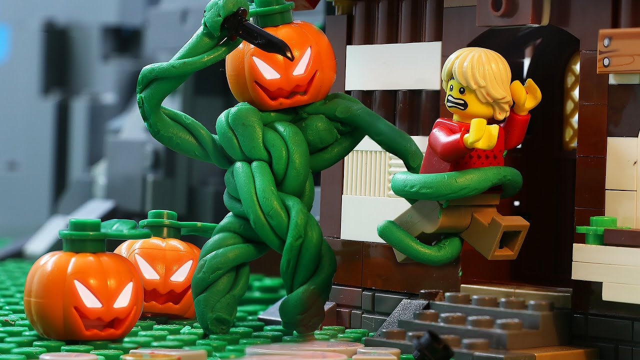 LEGO Land | Lego Halloween Haunted Garden: Scary Pumpkin Monster | Lego Stop Motion