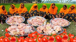 80 KG Fried Chicken Tomato Curry Cooking By Women - Tasty Tomato Curry Of Chicken For Villagers