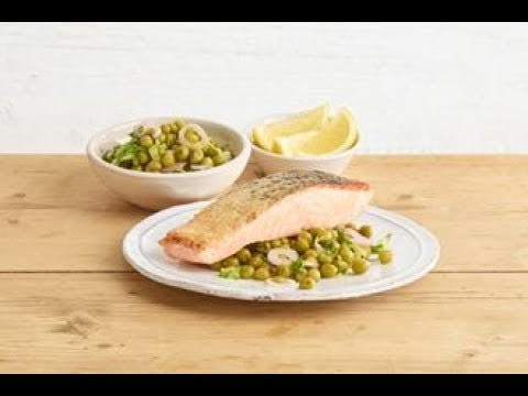 Pan-fried salmon with a quick-pickled pea and shallot saladin partnership with Sarson's