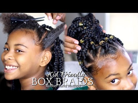 "HOW TO: BOX BRAIDS ""RUBBER BAND METHOD"" KIDS HAIRSTYLE"