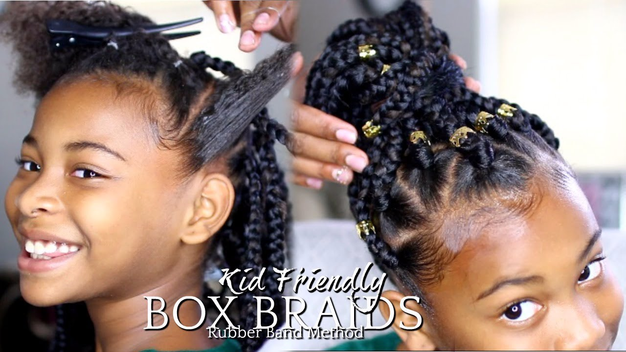 "natural hair | how to: box braids ""rubber band method"" kids"