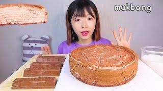 MUKBANG 초코 크레이프 케이크와 바삭한 초코바 디저트 먹방 CHOCOLATE CREPE CAKE CHOCO BAR Dessert asmr チョコケーキ 咀嚼音