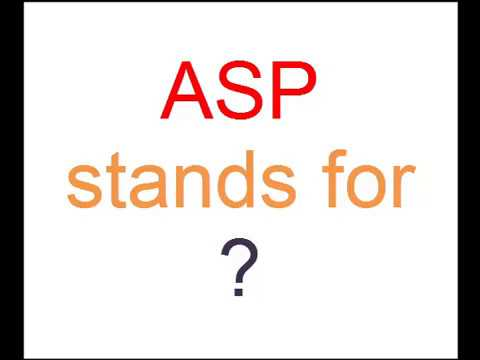 Full form of ASP is ? - YouTube