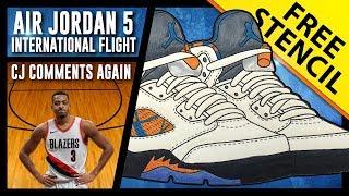 Air Jordan 5 International Flight - Sneaker Art w/ FREE Stencil