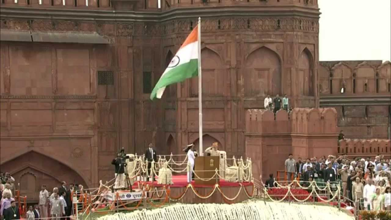 pm modi unfurls the tricolour flag at the ramparts of red fort on 69th independence day youtube. Black Bedroom Furniture Sets. Home Design Ideas