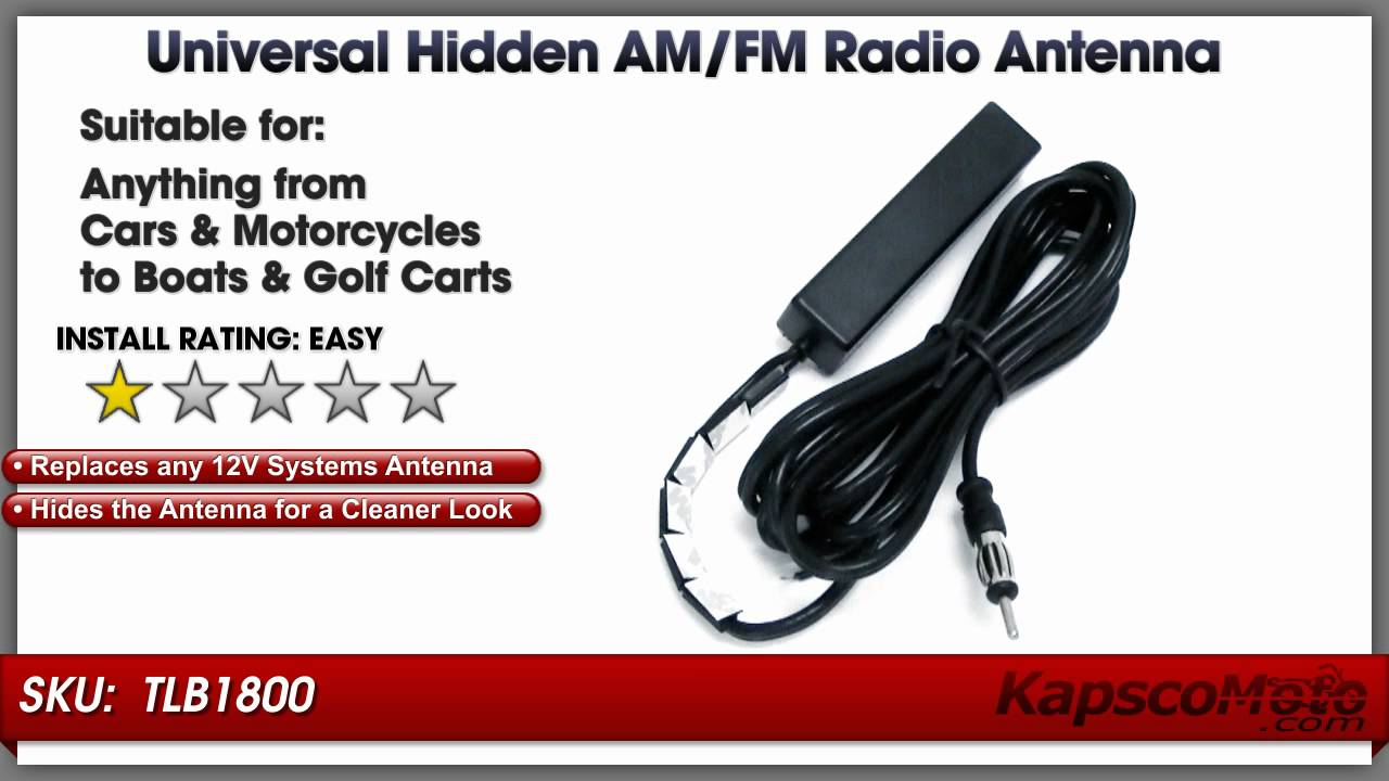 medium resolution of hidden am fm antenna universal motorcycle and car radio windshield antenna youtube