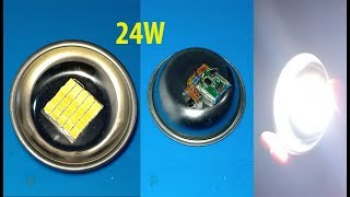 How to make 24W rechargeable  LED Flashlight Super Bright Light