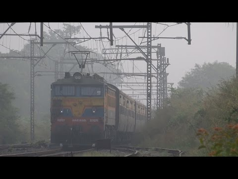 Mammoth Front panto 25 K.V AC WCAM-3 leads 11025/Bhusaval - Pune Express through mystic morning