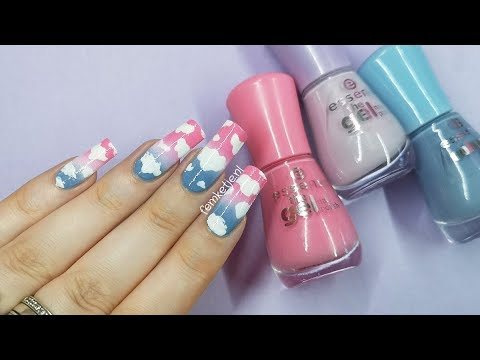 ☁️Cute Cloud Nail Art (EASY DIY Gradient On Natural Nails)☁️- femketjeNL thumbnail